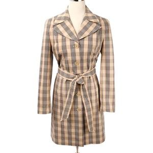 Caslon Tan & Red Plaid Belted Stretch Coat